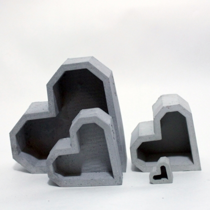 Concrete Geometric Garden Eats V-Day Hearts